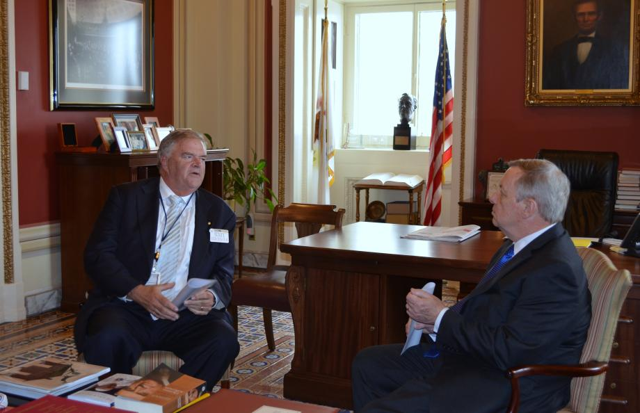 U.S. Senator Dick Durbin (D-IL) met with Australian Ambassador Kim Beazley today to discuss U.S. - Austrailian relationships and foreign policy.