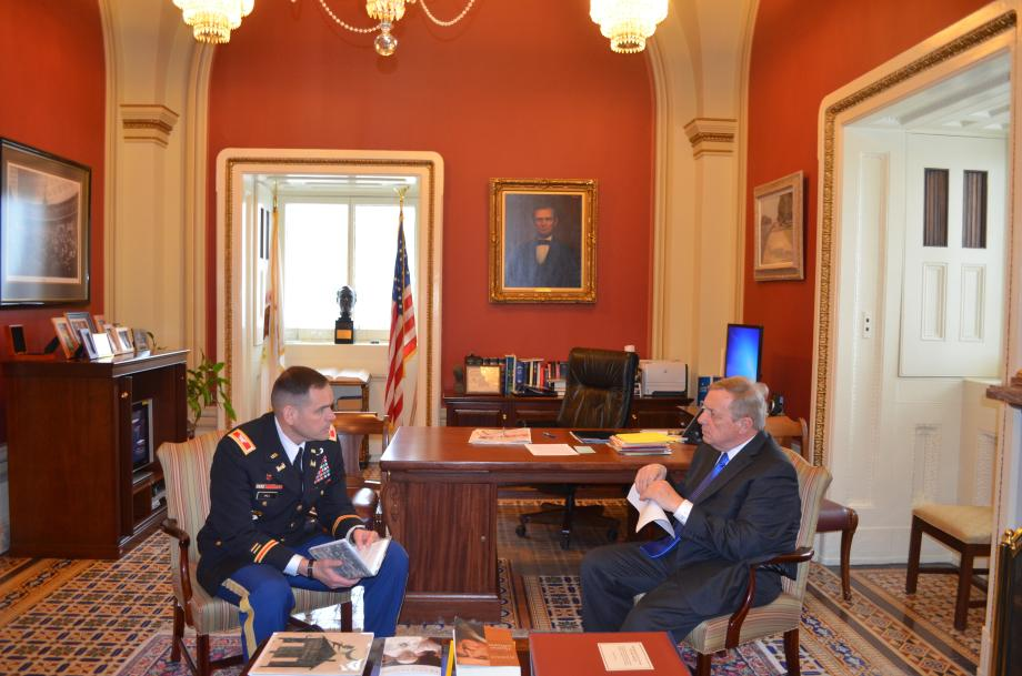 U.S. Senator Dick Durbin (D-IL)nmet with Colonel Christopher Hall of the St. Louis District of Army Corps of Engineers and other officials to discuss a variety of St. Louis projects and the Water Resources Development Act.