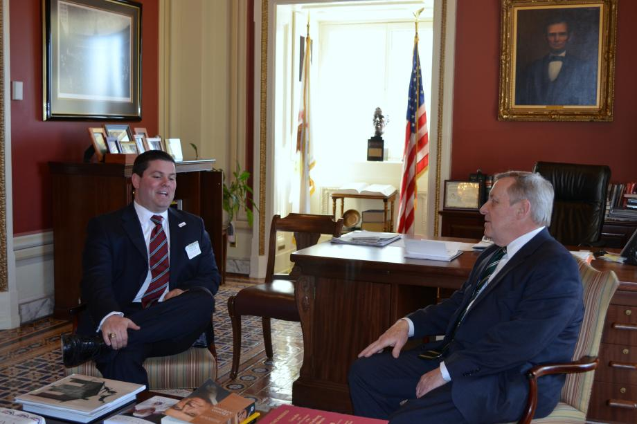 Illinois Emergency Management Director Jonathon Monken waws in Washington D.C. to meet with U.S. Senator Dick Durbin (D-IL) to talk about emergency response issues in Illinois.