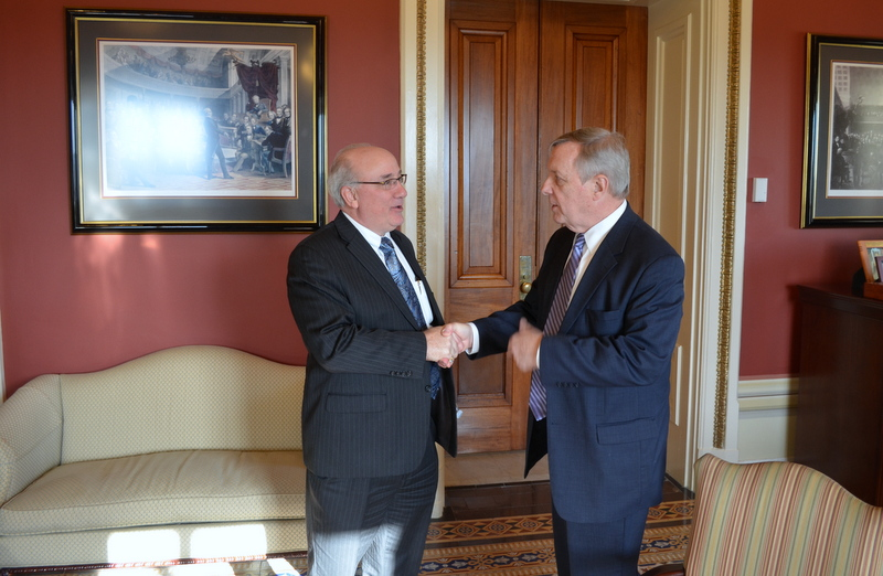 Metra Executive Director Don Orseno met with U.S. Seantor Dick Durbin (D-IL) to update the Seantor on agency and a discussion on Positive Train Control.