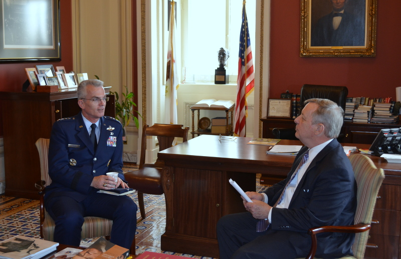 Air Force General Paul Selva met with U.S. Senator Dick Durbin (D-IL). General Selva has been nominated to be Commander of the U.S. Transporation Command. He currently serves as Commander of Air Mobility Command based at Scott Air Force Base in Illinois.
