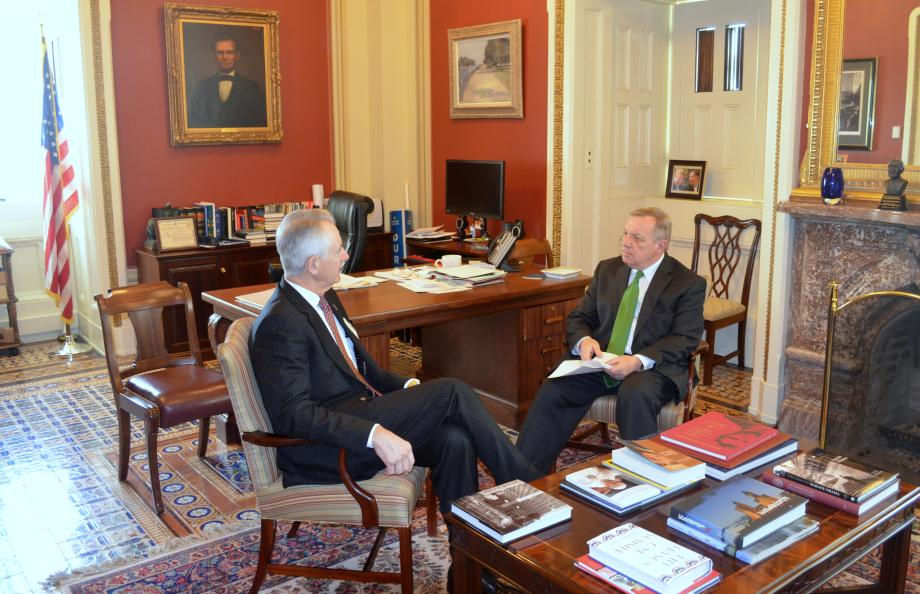 U.S. Senator Dick Durbin (D-IL) met with American Trucking Association CEO Bill Graves to discuss highway safety issues.