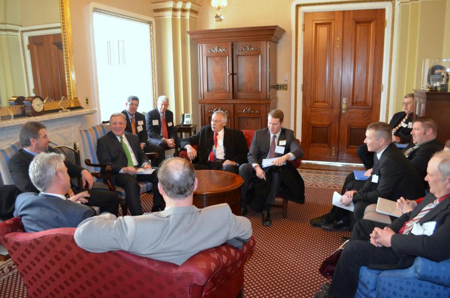 U.S. Senator Dick Durbin (D-IL) met with representatives of the Illinois Farm Bureau to discuss the importance of continuing to support and invest in Illinois? agricultural communities. The group discussed the Farm Bill, renewable fuel standards and waterway infrastructure.