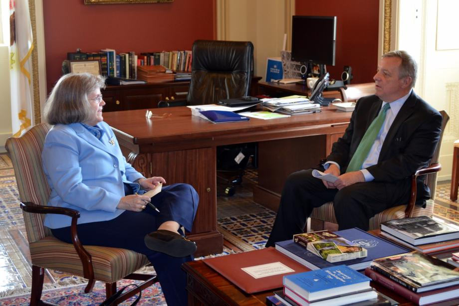 U.S. Senator Dick Durbin (D-IL) met with Consumer Financial Protection Bureau Office for Service Member Affairs Director Holly Petraeus to discuss for-profit schools.
