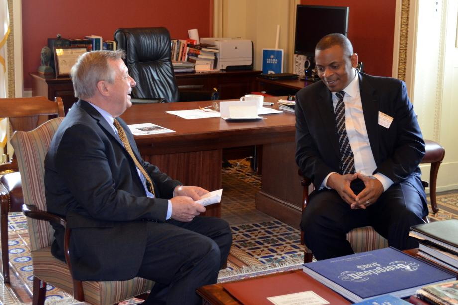 U.S. Senator Dick Durbin (D-IL) met with Mayor of Charlotte Anthony Foxx to discuss his nomination to be Secretary of Transportation.