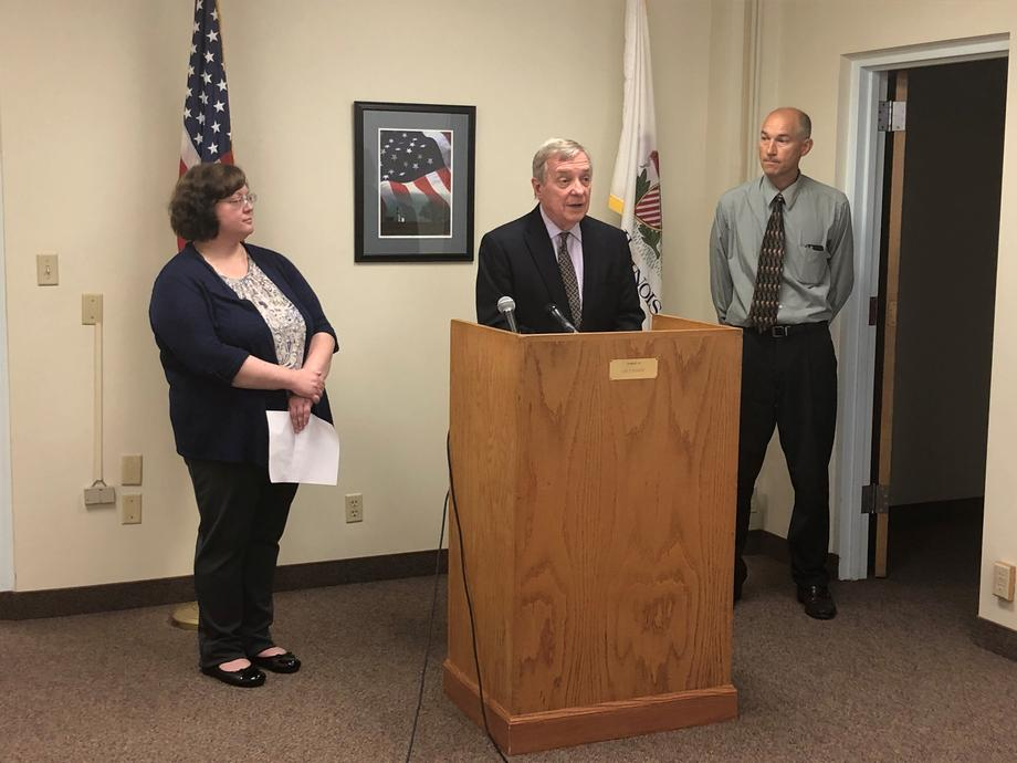 Durbin at the Peoria County Farm Bureau to announce the America Grows Act, which would authorize a five percent annual funding increase over the next five years at the U.S. Department of Agriculture