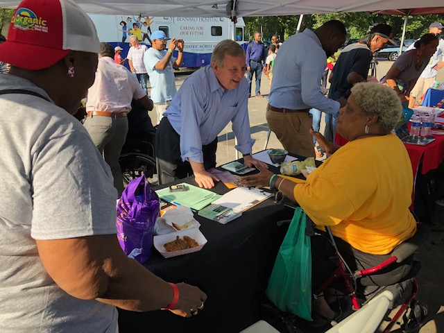Durbin at Hamilton Park celebrating National Night Out, an effort to enhance the relationship between the community and public safety officials