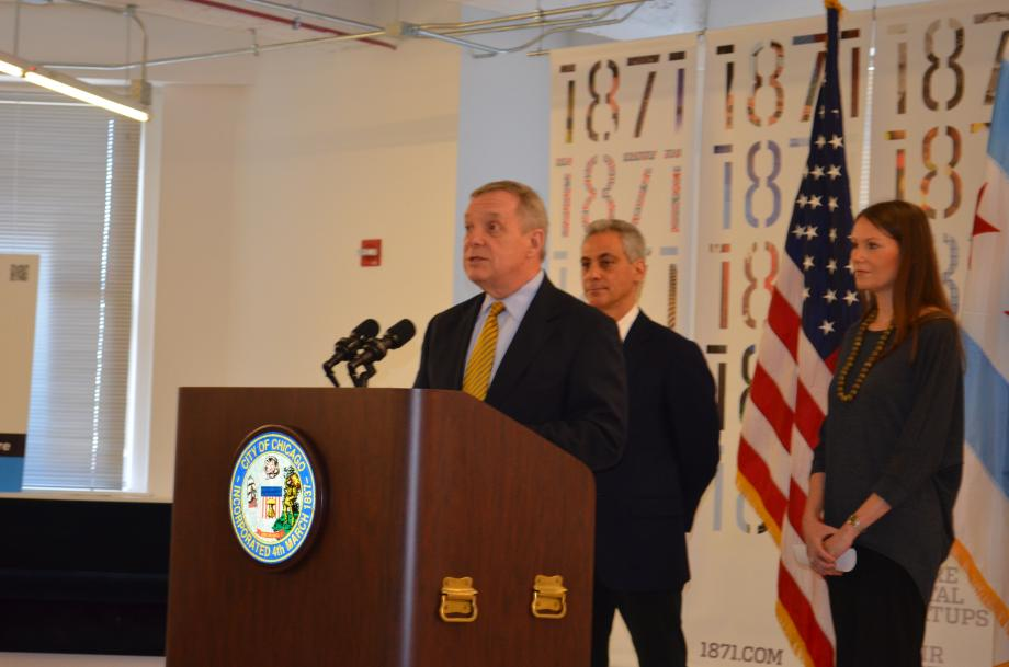 U.S. Senator Dick Durbin (D-IL) joined Mayor Rahm Emanuel and UI Labs Interim Executive Director Caralynn Nowinski to announce a $70 million federal grant to establish a Digital Manufacturing and Design Institute (or Digital Lab) in Chicago at a news conference on Sunday, February 23. The Digital Lab, which will have hundreds of partners from all over Illinois, can create thousands of jobs in advanced manufacturing fields, improve military readiness and make our economy more competitive.