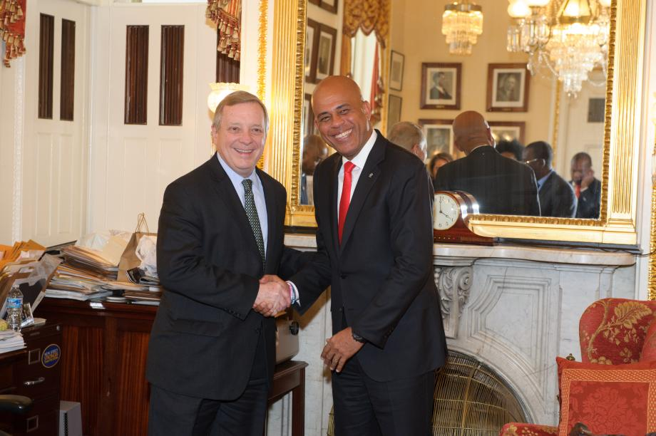 U.S. Senator Dick Durbin (D-IL) met with President of Haiti Michel Martelly. President Martelly was in Washington, D.C. meeting with members of the Senate's Foreign Relations Commitee.