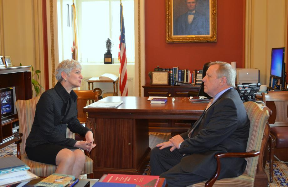 U.S. Senator Dick Durbin (D-IL) met with Illinois College President Dr. Barbara Farley today. The two discusses reauthorization of the Higher Education Act, college textbook costs, and student loan reform.