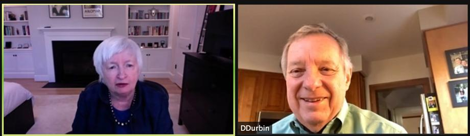 Durbin Discusses COVID-19 Economic Recovery with Janet Yellen, Biden Nominee for Secretary of the Treasury