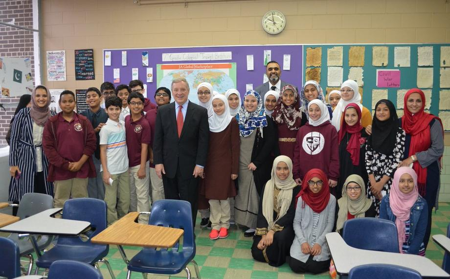 October 12, 2017 – Senator Durbin visited Morton Grove's Muslim Community Center Academy and met with 7th graders who wrote to him about the Rohingya crisis.