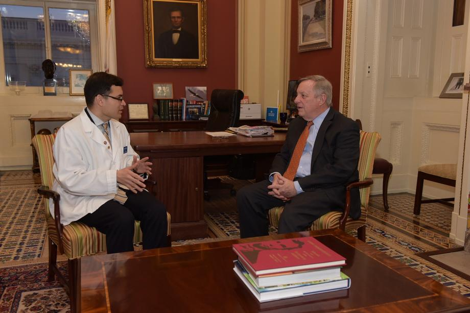 Senator Durbin Meets His State Of The Union Guest Cesar Montelongo